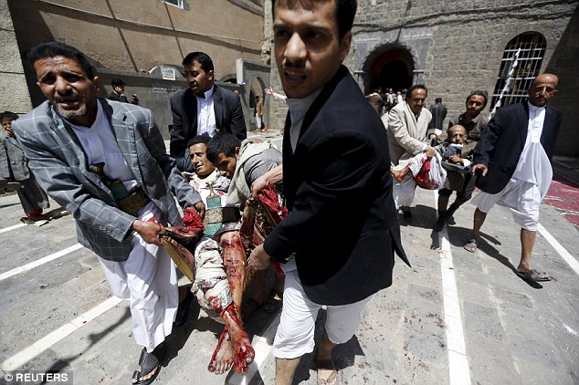 A suicide bomb attack on two mosques in Sanaa, Yemen, has killed 137 people. Worshippers rushed to carry injured men covered in blood from the building