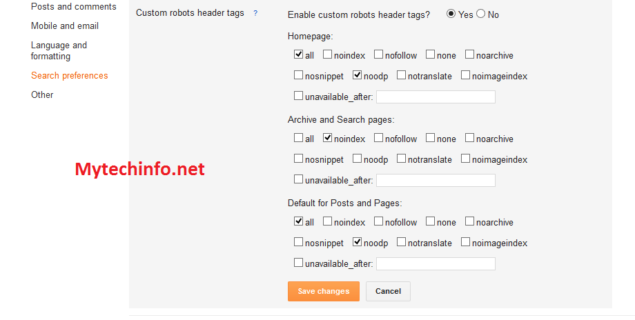 Custom Robots header tag setting blogger