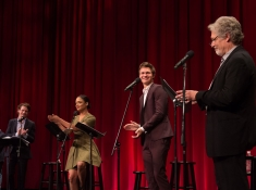 From left to right: Actor Jack O'Connell, actress Tessa Thompson, actor Ansel Elgort and actor Clancy Brown during the Academy of Motion Picture Arts and Sciences' presentation of its 2014 Academy Nicholl Fellowships Screenwriting Awards & Live Read