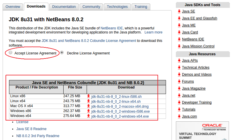 Download JDK 8u31 with NetBeans 8.0.2