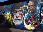 Colourful graffiti tributes to Terry Pratchett can be found in London's East End and Bristol