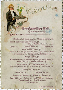 An 1893 dinner menu from B. Hall includes cream of oyster soup for five cents
