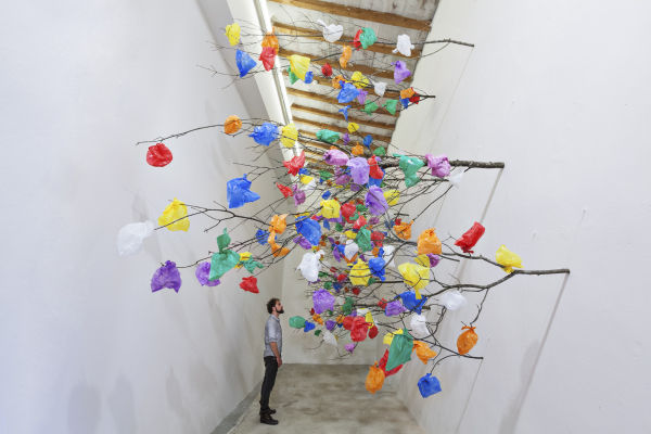 Plastic Tree C by Pascale Marthine Tayou is brough to Art Dubai by Galleria Continua