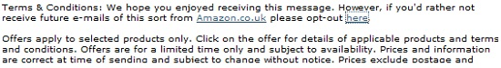 Amazon email marketing system opt-out small print