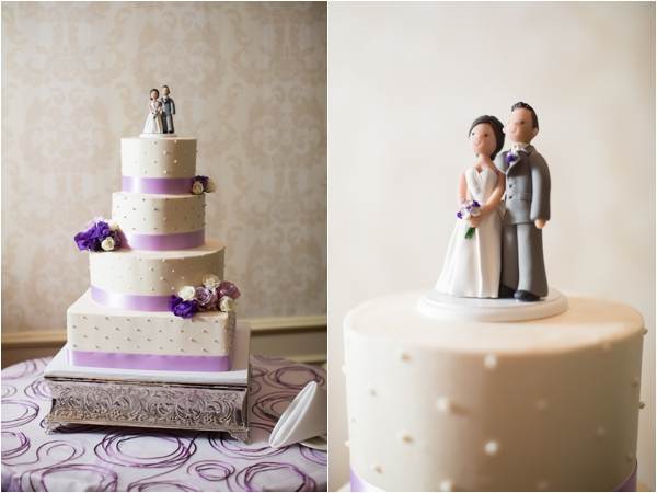 beautiful purple and white wedding cake with lifelike bride and groom cake topper, classic purple and gray wedding, Abby Grace Photography