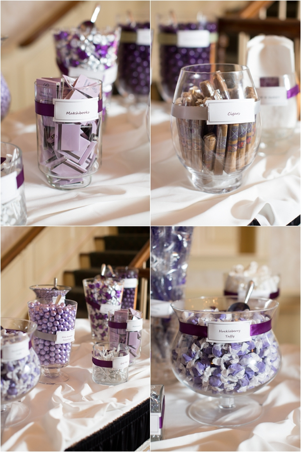 purple candy bar, sweets and desserts favor bar, cigars, classic purple and gray wedding, Abby Grace Photography