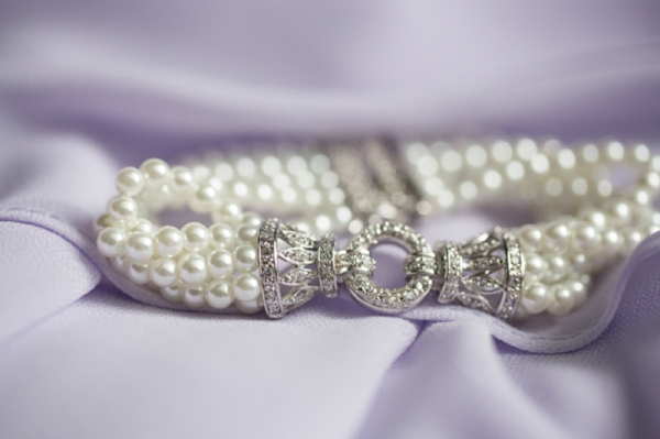 pretty diamond encrusted silver clasp pearl bracelet, classic purple and gray wedding, Abby Grace Photography