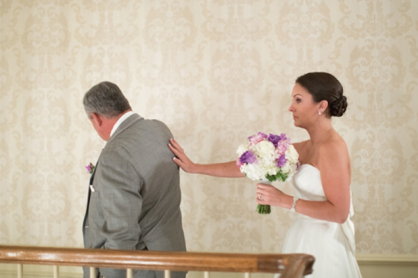 the bride and her father's first look, daddy daughter first look, classic purple and gray wedding, Abby Grace Photography