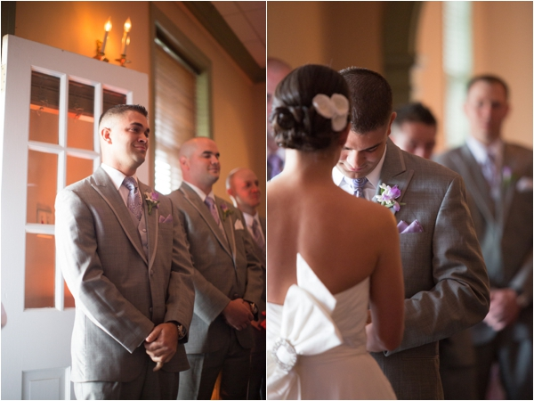 the groom's first look of the bride, the groom sees his bride for the first time, wedding ceremony, vows, classic purple and gray wedding, Abby Grace Photography