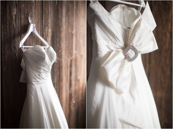 strapless wedding dress with sparkly bow back, classic purple and gray wedding, Abby Grace Photography