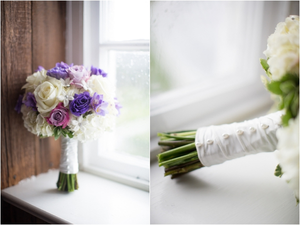 beautiful silk wrapped purple and white rose bouquet, classic purple and gray wedding, Abby Grace Photography