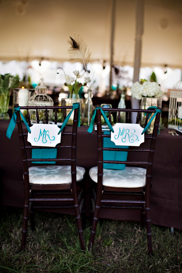 teal vintage handmade mr and mrs chair decor, vintage reception decor, mahogany chivari chairs, Katelyn James Photography, Jasmine Star Photography