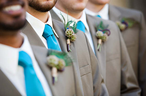 modern groomsmen attire, silk teal ties, scabiosa boutonnieres, Katelyn James Photography, Jasmine Star Photography