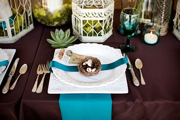 vintage reception decor, teal and brown vintage table setting, succulent side centerpiece, vintage birdcages, vintage bird's nest placecard, Katelyn James Photography, Jasmine Star Photography