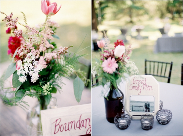 names of national parks as table numbers, pink floral centerpieces in beer growlers, Rustic Wisconsin Resort Wedding, Emily Steffen Photography
