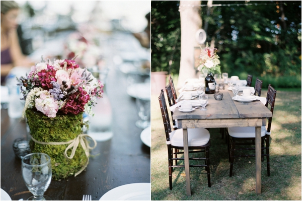 rustic moss covered table centerpieces, rustic table setting, Rustic Wisconsin Resort Wedding, Emily Steffen Photography