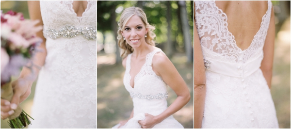 lace wedding gown, sparkly wedding sash, beautiful bridal portraits, Rustic Wisconsin Resort Wedding, Emily Steffen Photography