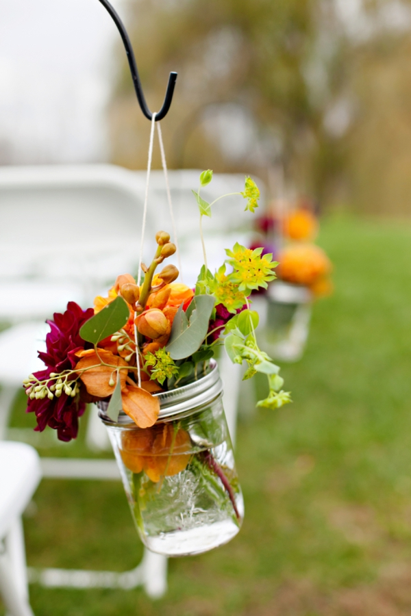 hanging mason jar fall floral decor, ceremony aisle decor, purple and orange New England fall wedding, Deborah Zoe Photography
