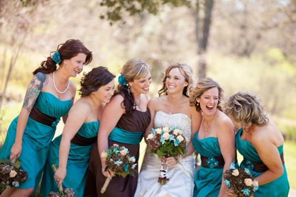 turquoise bridesmaid dresses, teal bridesmaid dresses, rustic turquoise California wedding, Mirelle Carmichael Photography
