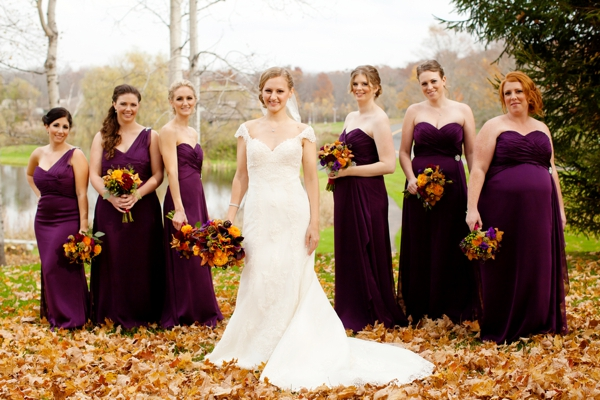 deep plum colored bridesmaids dresses, bride and bridesmaids, bridal party, flower girls, purple and orange New England fall wedding, Deborah Zoe Photography