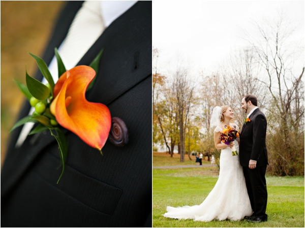 red-orange calla lily boutonniere, bride and groom, first look, purple and orange New England fall wedding, Deborah Zoe Photography