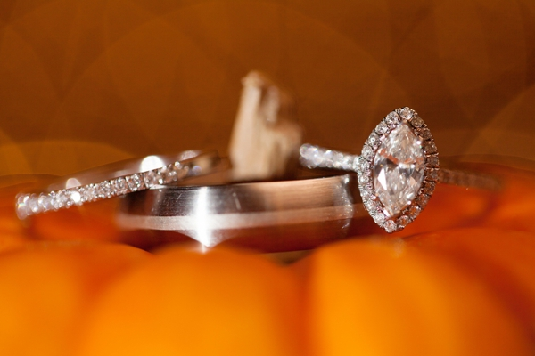 mini pumpkin ring shot, wedding and engagement rings, purple and orange New England fall wedding, Deborah Zoe Photography