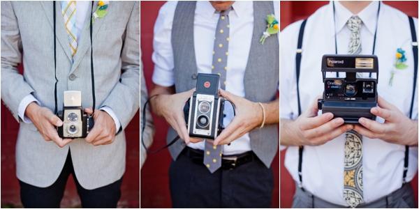 mismatched men's attire, vintage cameras