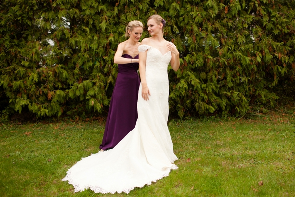 bride and her maid of honor, purple and orange New England fall wedding, Deborah Zoe Photography