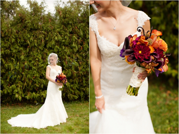 pretty fall colored bouquet, bridal portraits, purple and orange New England fall wedding, Deborah Zoe Photography