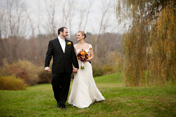 bride and groom, purple and orange New England fall wedding, Deborah Zoe Photography