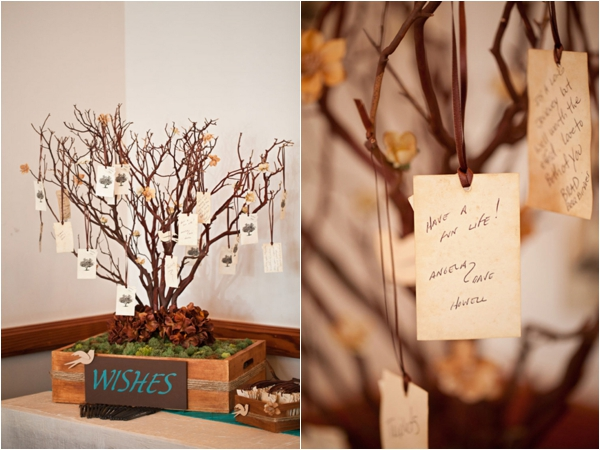 handmade wishing tree guest book idea, rustic turquoise California wedding, Mirelle Carmichael Photography