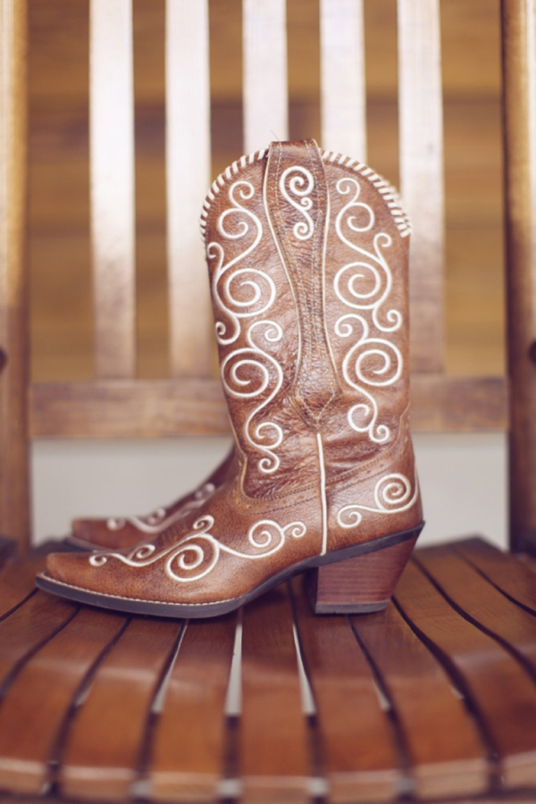 bride's embossed cowgirl boots, rustic wedding fashion