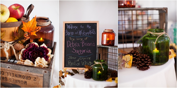 fall wedding decor, signature drink fall sangria, purple and orange New England fall wedding, Deborah Zoe Photography