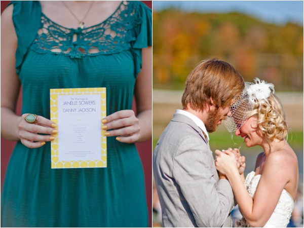 teal bridesmaid dress, yellow handmade ceremony program, heartfelt vows between the bride and groom