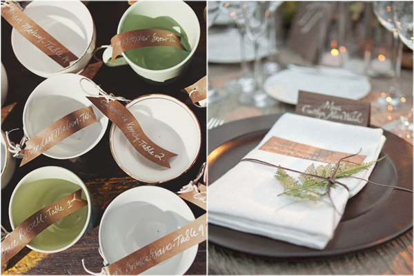 teacup escort cards, rustic woodsy place cards, wedding escort card ideas, place card ideas