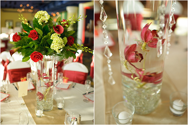 tall red rose and calla lily centerpieces, romantic Christmas beach wedding reception, classic tables cape, orchids floating in water amongst crystals, Luminaire Foto