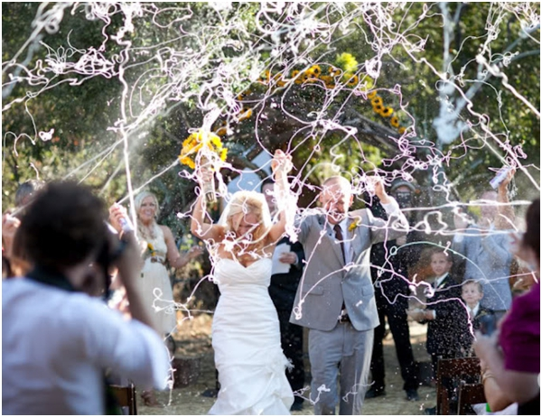 wedding silly string recessional, wedding recessional toss, sendoff, bride and groom exit, getaway