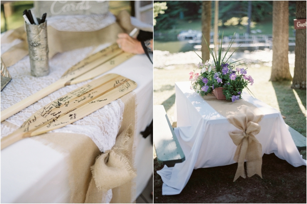 canoe paddles as guestbook for rustic wedding, burlap table runner with floral centerpiece, Rustic Wisconsin Resort Wedding, Emily Steffen Photography