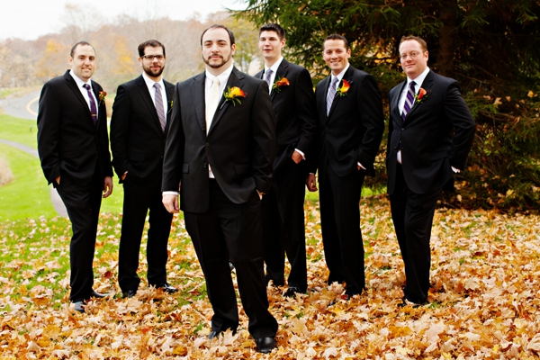 men's attire, groom and groomsmen, purple and orange New England fall wedding, Deborah Zoe Photography
