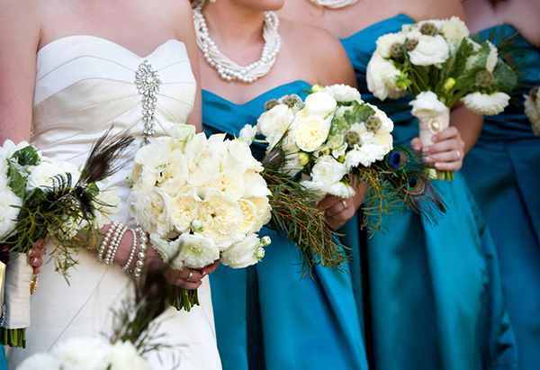 white and ivory bride and bridesmaids bouquets, teal bridesmaids dresses, Katelyn James Photography, Jasmine Star Photography