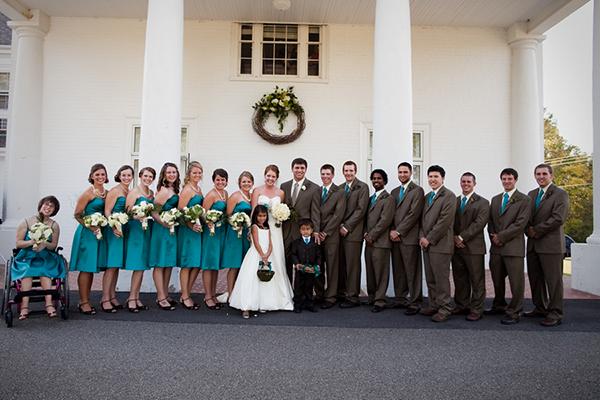 teal vintage modern bridal party, Katelyn James Photography, Jasmine Star Photography