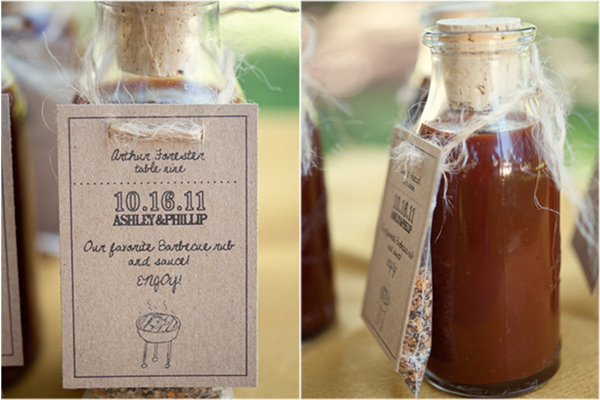 barbecue sauce and spice rub escort cards and favors, wedding escort card ideas