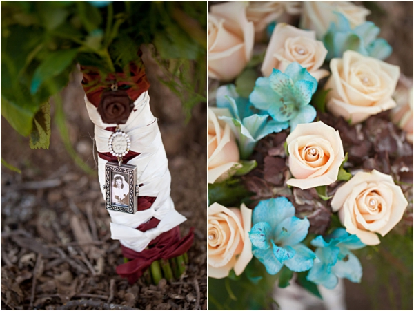 peachy cream roses, chocolate hydrangeas, turquoise alstroemeria, bride's bouquet, sentimental bouquet charm, rustic turquoise California wedding, Mirelle Carmichael Photography