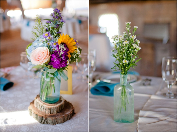 wildflowers in vintage blue mason jar centerpieces on wood pieces