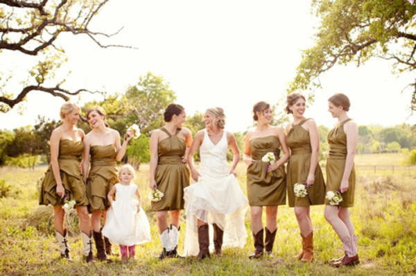 mismatched olive green bridesmaid dresses, bride and bridesmaids in cowgirl boots, rustic wedding fashion