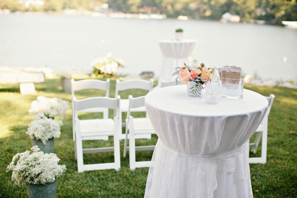lakeside ceremony, galvanized buckets of baby's breath as aisle decor, ceremony program table, simple lakeside wedding, peach, pink, beige, cream, and mint wedding ideas, Ruth Eileen Photography