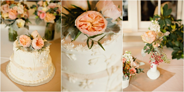 simple wedding cake with peach peony topper, mini floral centerpieces on square burlap runners, simple lakeside wedding, peach, pink, beige, cream, and mint wedding ideas, Ruth Eileen Photography