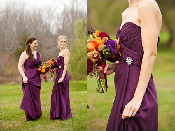 deep plum colored bridesmaids dresses, bridesmaids, purple and orange New England fall wedding, Deborah Zoe Photography