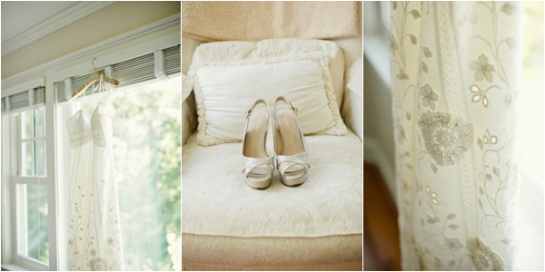 wedding dress shot, sparkly wedding shoes, BHLDN wedding dress lace details, simple lakeside wedding, peach, pink, beige, cream, and mint wedding ideas, Ruth Eileen Photography