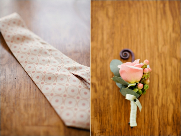 peach color patterned tie, pink rose, hypericum berry, and fiddlehead fern boutonniere, simple lakeside wedding, peach, pink, beige, cream, and mint wedding ideas, Ruth Eileen Photography